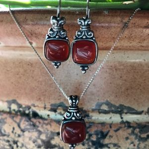 Jewelry - Silver and Carnelian Pendant and Earrings